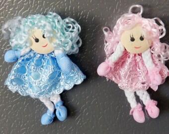 Mini Dolls Handmade Fridge Magnet - Blue & Pink - 2 Pack