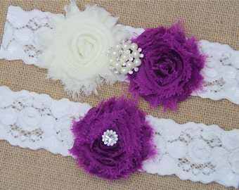 Ivory and Ultra Violet Wedding Garter,Bridal Garter Set,Keepsake Garter,Toss Garter,Ivory Lace Garter,Ivory Wedding Garter Belt -445