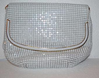 Vintage white mesh metal handbag/vintage white handbag/mesh metal handbag/metal evening handbag/an.611