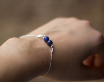 Bracelet silver lithotherapy minimalist (beads of your choice)