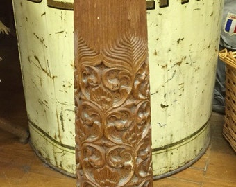 Beautiful vintage hand carved wooden lamp base