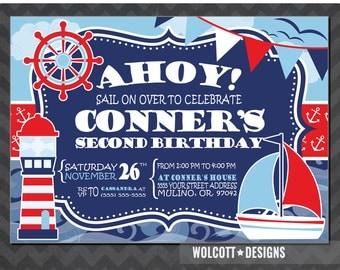 Nautical Birthday Invitation, Nautical Party Invitation, Ahoy Birthday Invitation, Sail Boat Invitation, Nautical 2nd Birthday