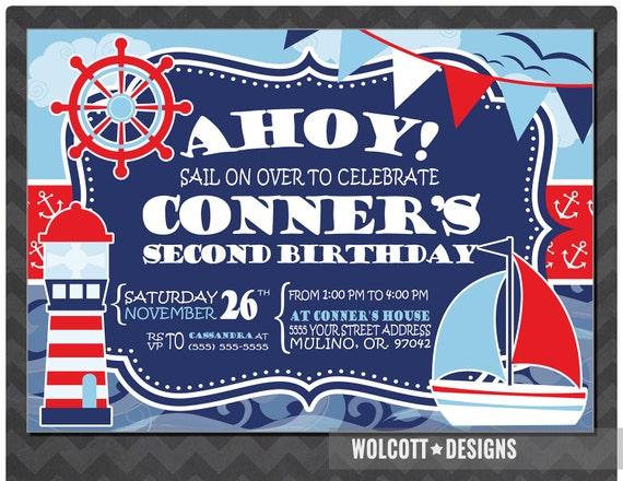 Nautical Birthday Invitation Nautical Party Invitation Ahoy