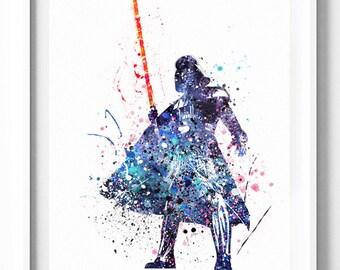Star Wars, Darth Vader, Anakin Skywalker, Force, Art Print, Poster, Watercolor Art, Printable, Kids, Nursery, Home Decor, Wall Art, Gifts