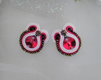 Soutache red crystall earrings Swarovski red crystall