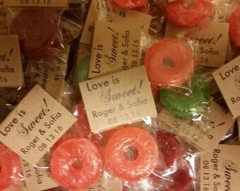 100 love is sweet wedding favors. Rustic wedding favors. Wedding favors. Bridal shower favors. Love is sweet bridal shower favors.
