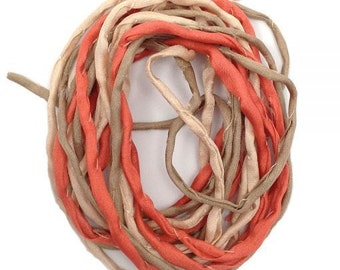 Silk ribbons, 3 m, pink, coral, beige, 3 mm Habotai silk, cord, thread