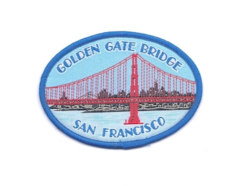 Vintage Golden Gate Bridge with City Background Patch
