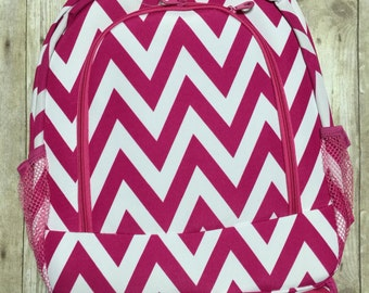 Personalized Pink Chevron Print Book Bag , Monogram Canvas Book bag, Personalized Backpack,  Kids Backpack, Personalized Book bag