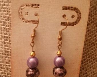 Playful purple beaded earrings