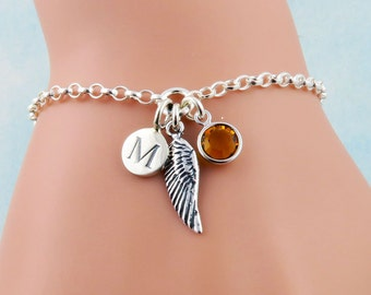 Personalized Angel Wing Bracelet, Angels Bracelet, Angel Jewelry, Tiny Wing Charm Bracelet, Initial Birthstone Bracelet, Sterling Silver