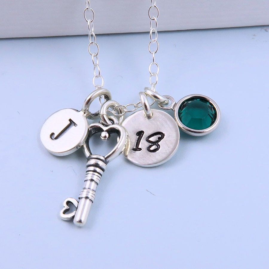 18th Birthday Heart Initial Bracelet 18th Birthday Jewelry: Personalized 18th Birthday Necklace With By CrystalSongJewels