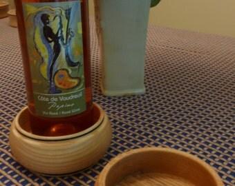 Wine bottle coaster - wood coaster