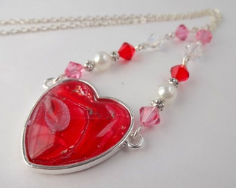 Red Heart Necklace, Red Heart Pendant, Unusual Necklace, Crystal and Pearl Necklace, Handmade Jewellery, Gift for Her, Bridesmaids Gift
