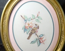 Pair of Bird Prints. Vintage Gilt Gold Frames. Shabby Chic Wall Hangings. Vintage Birds in Oval Frames. Nature Art. Bird Drawings.