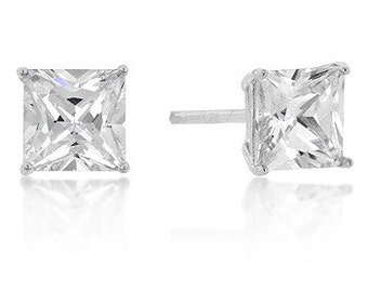 Stud Earrings, in Sterling Princess Cut Cubic Zirconia 1.24 Carat (6mm)
