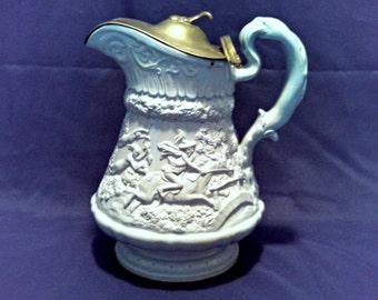 "Antique ""Tavern & Chase"" Pitcher Tankard w/Pewter Lid by Wm Ridgway, Blue Salt Glazed, Signed, Dated, Antebellum Era, Circa 1835"