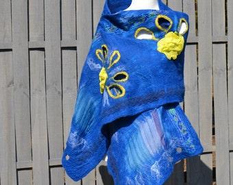 Nuno Felted Scarf Blue Handmade OOAK felted shawl wool scarf felt wrap nuno felt fashion scarf