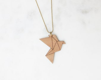 Origami Necklace Pigeon-cherry-brass-long