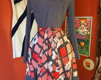 Vintage 1970's Polka Dotted Dress