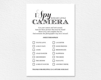 I Spy With My Little Camera Printable Card, I Spy Wedding Game, Wedding Favor, Wedding Reception Game, Hashtag Sign, Instant Download #BPB44