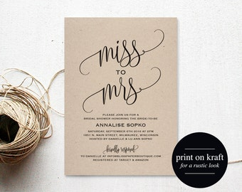 Bridal Shower Invitation, Bridal Shower Invites, Wedding Shower Invitation, Wedding Printable, Rustic Wedding, Instant Download #BPB203_12