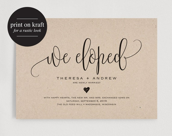 Post Wedding Party Invitation Wording: We Eloped Wedding Announcement Elopement By BlissPaperBoutique