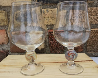 Set of 2 hand blown wine glasses
