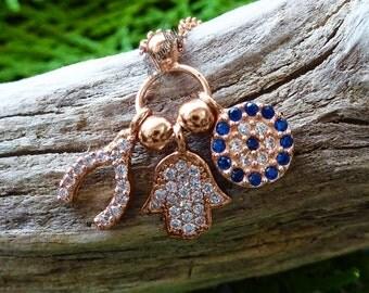 Wishbone & Hamsa Rose-Gold Crystal Charm .925 Silver Necklace