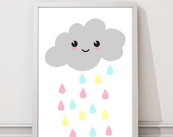 Rainy cloud print