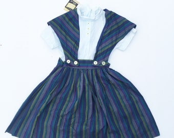 Amazing Deadstck vintage striped back to school girls dress. Vintage striped dress. Deadstock.