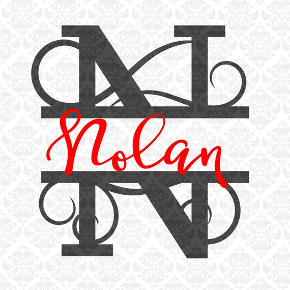 Split Monogram Swirly Letters Fancy Last Name Alphabet SVG DXF PNG Ai Eps Scalable Vector Instant Download Commercial Use Cricut Silhouette