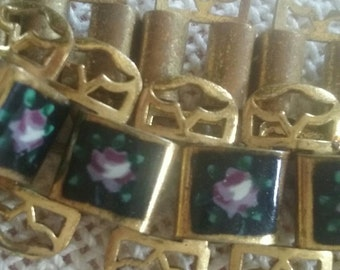 Antique Enamel Rose Bracelet/VINTAGE Rose Bracelet/Cottage Jewelry/Vintage Enamel/Antique Bracelet/Shabby Chic