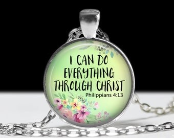 I Can Do Anything Through Christ Necklace Religious Jewelry Pendant Wearable Art Religious Necklace Grace Keychain Religious Keychain