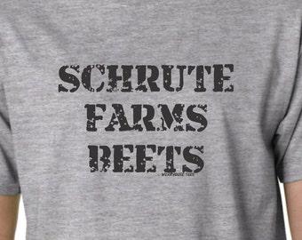 SHRUTE Farms Beets The Office Dunder Mifflin Dwight T Shirt Pam Jim Scott Geek Nerd New Custom Design Nard Dog