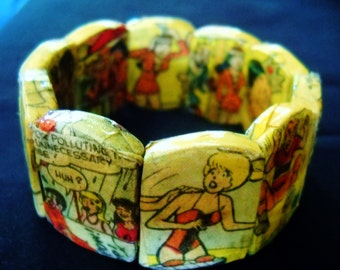Hand-made and One of a kind Decoupage Bracelet - Archie, Betty and Veronica Comic Bracelet