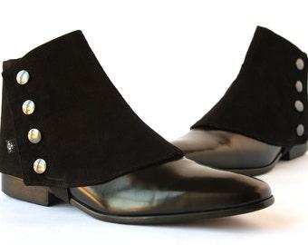 Men's Spats Black Velvet - Dapper Men - Gaiters spats spatterdash