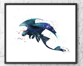 Toothless Fury Watercolor Print, How To Train Your Dragon Art, Hiccup Art Print, Movie Poster, Wall Art, Kids Room Decor, Nursery - 554