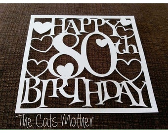 80th Birthday Hearts Paper Cutting Template - Commercial Use