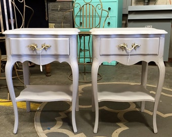 Grey Set of French Provincial Night Stands or End Tables