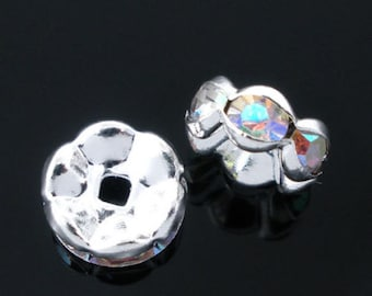 25 AB Color Rhinestone Rondelle Spacers Beads 8mm