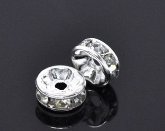 30Pcs Silver Plate Rhinestone Rondelles Spacer Beads
