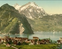 24x36 Poster . Stanstaad And Pilatus, Lake Lucerne, Switzerland 1890