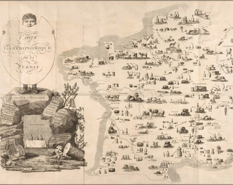 24x36 Poster . Carte Gastronomique De La France French Cuisine Map 1809