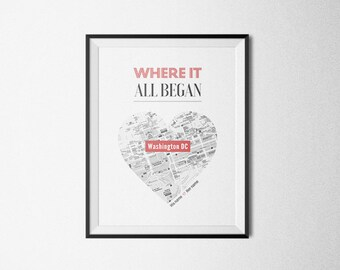 Where it all began. Personalized Map, Heart Map Art, Husband Gift, Unique Wedding Gift, for Couple, Anniversary Gift, Custom City and Name.