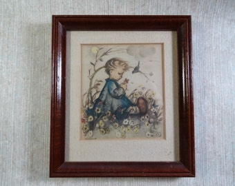 SALE!  REDUCED PRICE!  Framed Hummel Print Girl With Bluebird and Flowers
