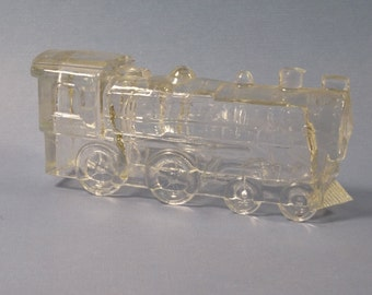 Vintage Glass Train Engine Candy Container No. 888