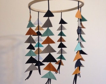 Baby Mobile // Leather and Suede Triangles // Nursery Decor // Baby Shower Gift // Kid's Room Decor //