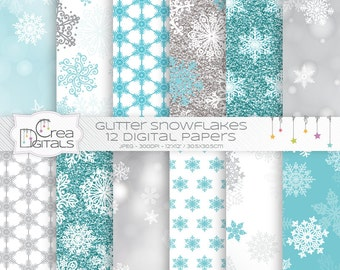 Blue glitter and bokeh snowflakes - 12 digital papers - INSTANT DOWNLOAD