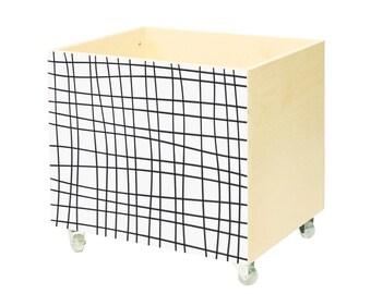 Toy chest, nursery toy box, toy bin storage, toy hope crate Black grid.Kids furniture, wooden,on wheels, casters. Toy organizer. Black white